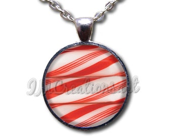 Candy Cane Pattern Glass Dome Pendant or with Chain Link Necklace HD153
