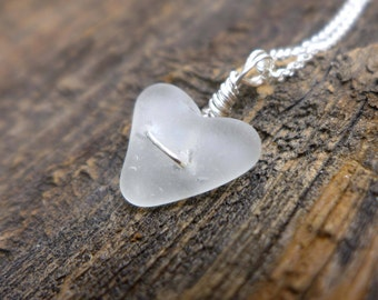 White Sea Glass Heart Pendant
