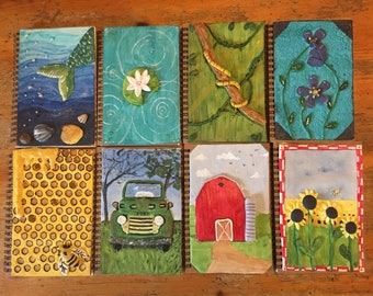 Handpainted clay blank journals