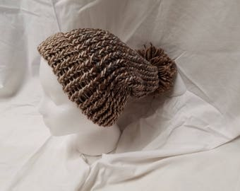 Loom-Knitted Adult Hat, Brown with Pom