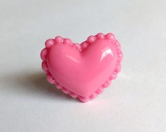 Pink Heart Adjustable Ring - Kawaii Jewelry Fairy Kei Jewelry Lolita Jewelry Decora Jewelry Pop Kei Jewelry Harajuku Fashion Tokyo Fashion