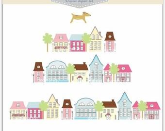 ON SALE House Clip Art // Houses Clip Art. House-season change , INSTANT Download