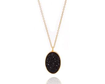 Druzy Necklace - Large Druzy Pendant Necklace - Black Druzy in Gold Necklace - Big Druzy Chain Necklace - Oval Druzy