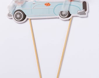 "Wedding ""Wedmobile"" decorated car cake / cupcake topper with ribbon"
