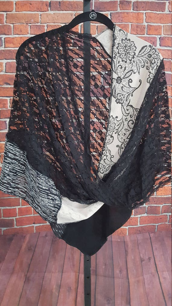 Black Lace & Metallic Knit Twisted Mobius Wrap