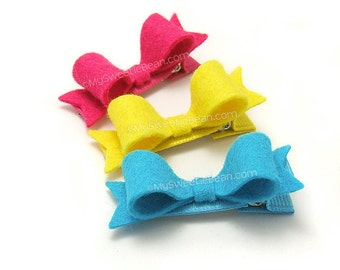 Felt Hair Bows for Girls, Set of 3 Mini Felt Bows, 2 inch Felt Bows with Tails, Mini Bow Felt Hair Clips, Summer Brights