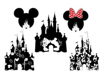 Disney castle svg, Castle clipart, Disney svg Disney dxf, castle silhouette, Mickey castle svg, Mickey dxf, Minnie castle svg