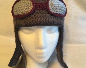 Crochet Hat Pilot's helmet for kids