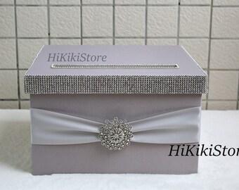 Silver grey wedding money box,wedding card holder, Wedding box, Wedding gift boxes,Reception card box,wedding card boxes with slot