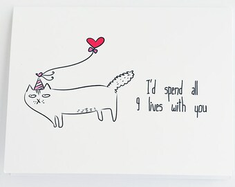 Cat's greeting card // I'd Spend all 9 lives with you Valentines Card // cat // valentines day // holiday // love // cupid //  girlfriend