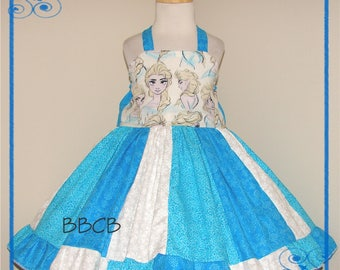 Toddler Girls ICE QUEEN Frozen Dress - Princess - Snow -- Ready to Ship - Fits aprxx 2T 2/3 3T - Birthday Party - Twirl - Blue Ice ELSA