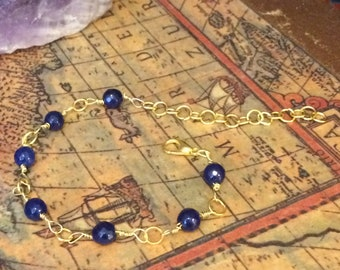 Gold Wire Bracelet with Sapphire | Beaded Bracelet | Birthday/Wedding/Anniversary Gift for Girls and Women
