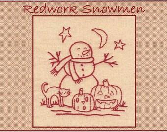 Redwork Snowmen - October - Redwork Hand Embroidery Pattern by Beth Ritter - Instant Digital Download
