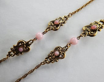 Pink Glass Faux Pearl Chain Necklace