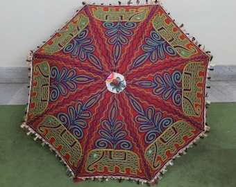 Handmade red unique    Umbrella  with embroidery work ,decorative cotton parasol ,hand stitcher work  big parasol  fast  delivery