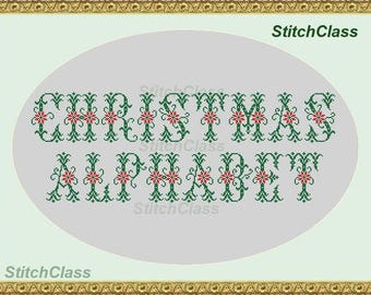 Alphabet with Christmas flower Cross Stitch pattern PDF Letters A-Z for initial Floral font monograms Christmas flowers crossstitch patterns