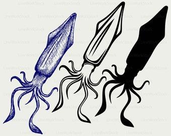 Squid svg/squid clipart/squid svg/squid silhouette/squid cricut/squid cut files/squid clip art/digital download/designs/svg