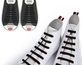 TOTOMO Black No Tie Elastic Silicone Shoelaces for both Kids & Adults Tieless Shoe Laces