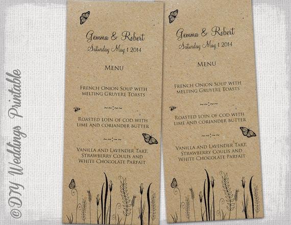 rustic wedding menu template butterfly meadow printable