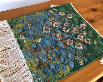 Woven Wall Tapestry. Vintage Wall Hanging. Sunflower, Leaf, Bird Rug with Fringe. Textile Wall Art. Woven Wool, Colorful Green Blue Yellow.