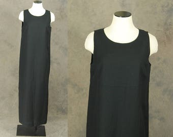 vintage 90s Linen Dress - 1990s Minimalist Black Linen Dress Maxi Dress Sz M