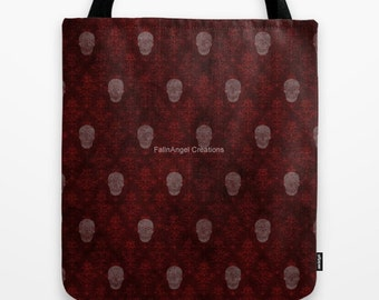 Gothic Tote Bag, Red Victorian Skulls, 3 Sizes Available