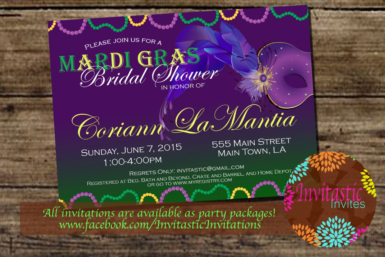Mardi Gras Theme Bridal Shower Invitation New Orleans Theme