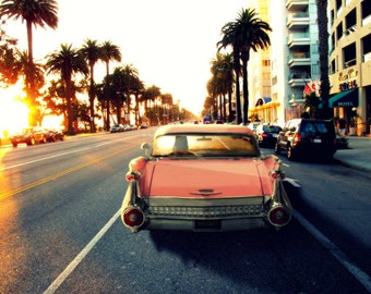 Pink Cadillac on Ocean Avenue, Santa Monica, California Beach Sunshine Driving Sunset Sun Street Art Photograph Print Photography