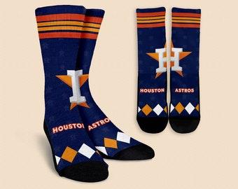 Houston Astros Baseball Fan Made Crew Socks for Men and Women