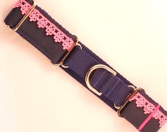 Dog Collar Preppy Pink Martingale
