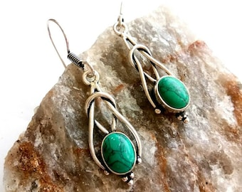 Turquoise Earrings, Turquoise Silver Earrings. Drop Earrings, Tribal Earrings, Brass Earrings, Boho Earrings. Earrings. Ethnic Earrings.