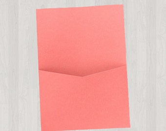 10 Flat Pocket Enclosures - Coral & Peach - DIY Invitations - Invitation Enclosures for Weddings and Other Events