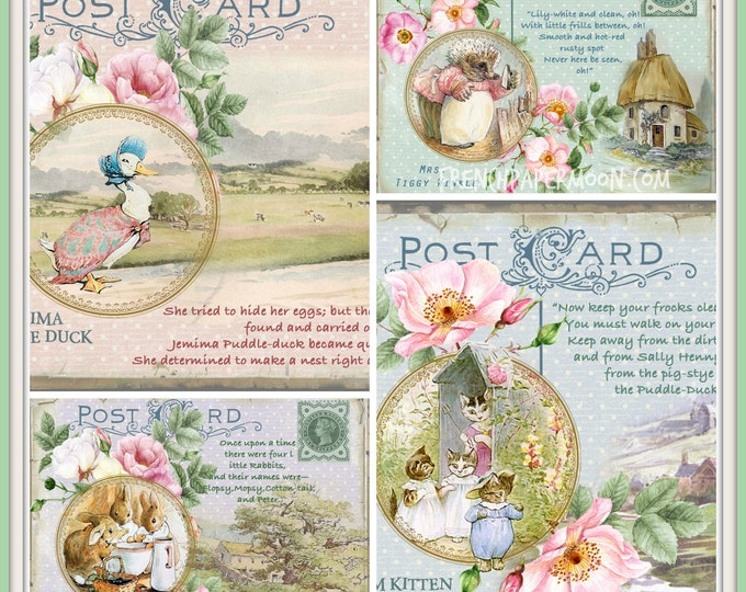 Vintage Beatrix Potter Digital Postcard Printable, Art Mail, Digital Stories, Peter Rabbit, Jemima Puddle Duck, Tom Kitten, Mrs Tiggy Winkle