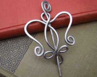 Aluminum Celtic Angel Shawl Pin, Scarf Pin, Sweater Brooch, Knitting, Crochet, Light Weight Angel Pin, Knitter Valentines Day Gift for Her