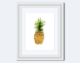pineapple print - pineapple printable - kitchen art decor - pineapple wall art - watercolor pineapple - watercolor art - digital download