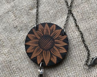 OOAK Sunflower necklace ~ woodburned wooden wood pendant ~ handmade dangle chain necklace