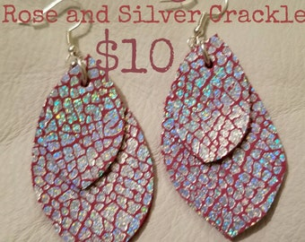 Rose and Silver Metallic Leather Earrings