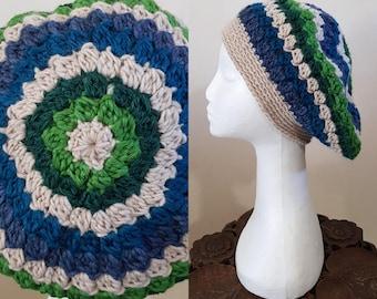 THE VINTAGE TAM Handmade 1940s Landgirl Boho Alpaca Wool Blend Crochet Knit Beret Hat Cream Green Blue