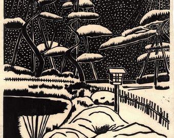 "Japanese Ukiyoe, Woodblock print. Sosaku-Hanga, ""Yukitsuri"""