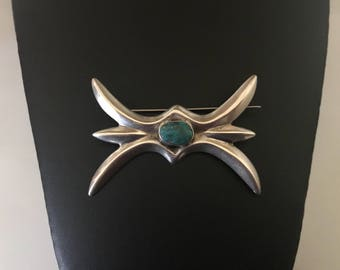 Native American Sterling Silver and Turquoise Cast Brooch
