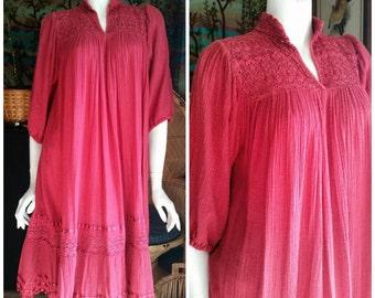 70's Bohemian Gauze Dress, Vintage Bohemian Dress, Pink Gauze Dress, Indian Dress, Vintage Festival Dress, Hippie Rose Gauze Dress, MD/LG
