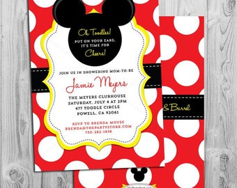 Mickey Mouse Baby Shower Invitations Mickey Mouse Baby Shower Invites  Printable Mickey Baby Shower Invitation Red