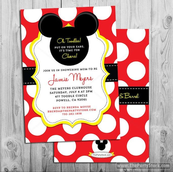 Mickey Mouse Baby Shower Invitations Mickey Mouse Baby Shower
