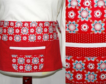 Sugar & Spice Teacher Half Apron with secure zip pocket, also great for vendors, servers, Farmers Market, New Mommy Apron, ready to ship now