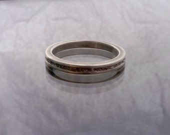 Sterling silver rough center ring 2mm width