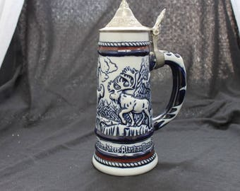 Avon Wildlife Sheep Goat Moose Beer Stein