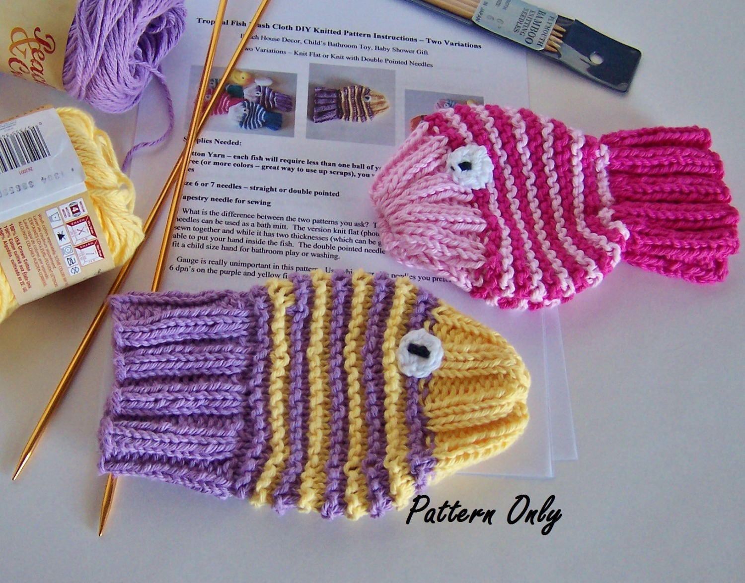 Tropical Fish Knitting Pattern DIY Instructions 2