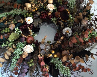 Rustic Swirl Wreath MADE TO ORDER Year Round Tuscan~Indoor Huck Twig Wall Hanging Decor~Rust Gold Brown Mix Eucalyptus~Cream Flowers~Autumn