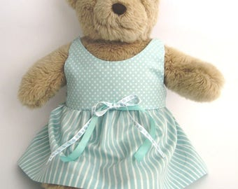 Teddy Bear Clothes, Louise Aqua and White Cotton Spot and Stripe Dress