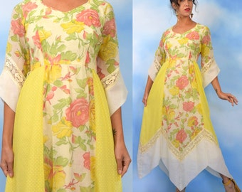 Vintage 60s 70s  Yellow Floral and Swiss Dot Cotton Voile Handkerchief Hemline Maxi Dress (size medium)